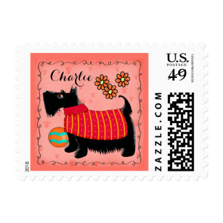 Black Scottie Terrier Dog Name Personalized Red Stamps