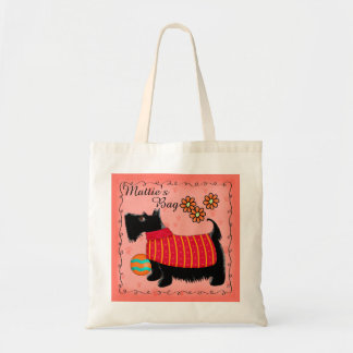 Black Scottie Terrier Dog Name Personalized Red Tote Bag