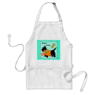 Black Scottie Terrier Dog Name Personalized Teal Adult Apron