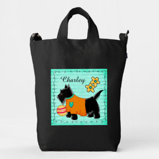 Black Scottie Terrier Dog Name Personalized Teal Duck Bag