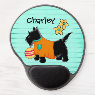 Black Scottie Terrier Dog Name Personalized Teal Gel Mouse Pad