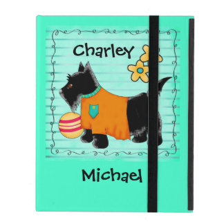 Black Scottie Terrier Dog Name Personalized Teal iPad Folio Cases