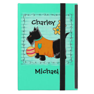 Black Scottie Terrier Dog Name Personalized Teal iPad Mini Covers