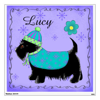 Black Scottie Terrier Dog Name Personalized Teal Wall Decal
