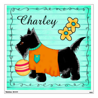 Black Scottie Terrier Dog Name Personalized Teal Wall Sticker