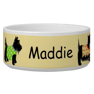 Black Scottie Terrier Dog Name Personalized Yellow Bowl