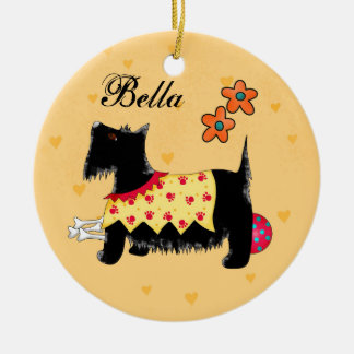 Black Scottie Terrier Dog Name Personalized Yellow Ceramic Ornament
