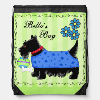 Black Scottie Terrier Dog Personalized Green Drawstring Backpack