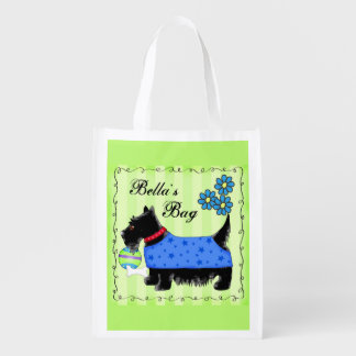 Black Scottie Terrier Dog Personalized Green Grocery Bags