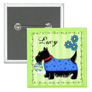 Black Scottie Terrier Dog Personalized Name Badge Pinback Button