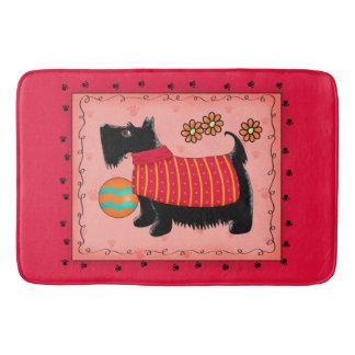 Black Scottie Terrier Dog Red Coral Decorative Bathroom Mat