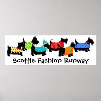 Black Scottie Terrier Dogs Fashion Runway Art Poster
