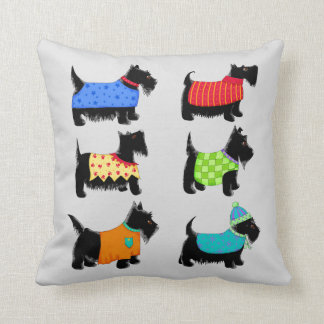 Black Scottie Terrier Dogs Gray or Grey Decorative Throw Pillow