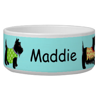 Black Scottie Terrier Dogs Name Personalized Blue Bowl