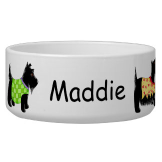 Black Scottie Terrier Dogs Name Personalized Bowl