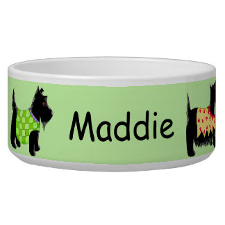 Black Scottie Terrier Dogs Name Personalized Green Bowl