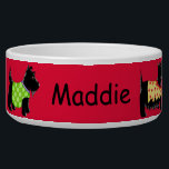 "Black Scottie Terrier Dogs Name Personalized Red Bowl<br><div class=""desc"">Customize this dog pet food dish to show your love of Scottish Terrier dogs and personalize with your dog&#39;s name in the center on a red background. The colorful design has 6 black Scottie dogs in a colorful array of dog clothes and on a red background. These whimsy, cute and...</div>"