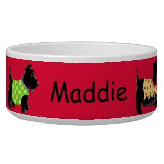 Black Scottie Terrier Dogs Name Personalized Red Bowl