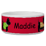 Black Scottie Terrier Dogs Name Personalized Red Pet Bowl