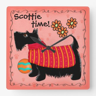 Black Scottie Time Dog Personalized Red Orange Square Wall Clock