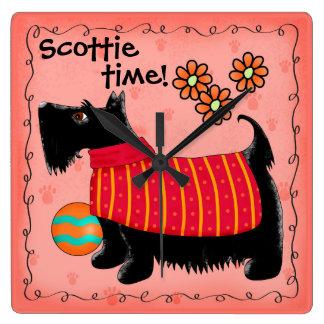 Black Scottie Time Dog Personalized Red Orange Square Wall Clock