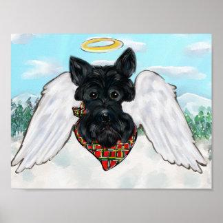 Black Scottish Terrier Angel Poster
