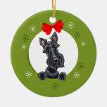 Black Scottish Terrier Christmas Classic Ceramic Ornament
