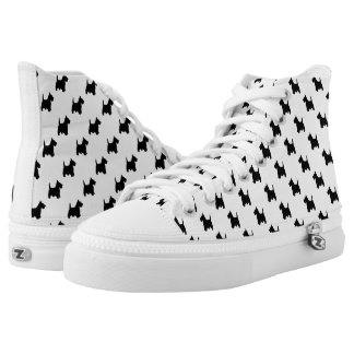 Black Scottish Terrier Dog Pattern on White High-Top Sneakers