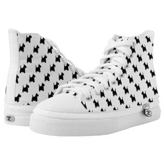 Black Scottish Terrier Dog Pattern on White Printed Shoes