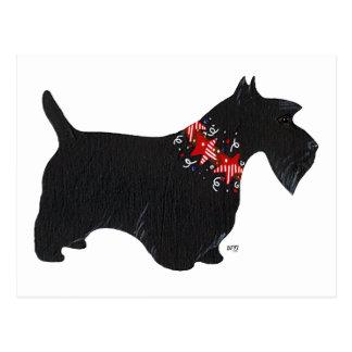 Black Scottish Terrier Holiday Collar Postcard