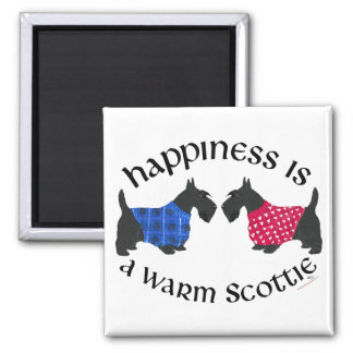 Black Scottish Terriers Happiness 2 Inch Square Magnet