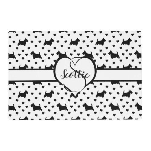 Black Scottish Terriers Scottie Dogs _ White Placemat