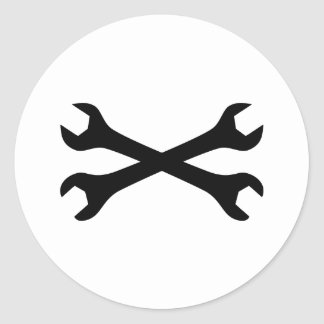 Black Screw Wrench crossed Classic Round Sticker