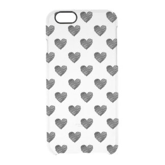Black scribbled hearts clear iPhone 6/6S case