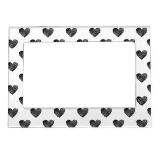Black scribbled hearts magnetic photo frame