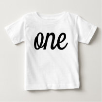 Black Script 1st Birthday Baby T-Shirt