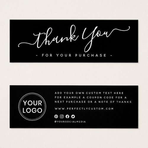 Black script business logo thank you insert card