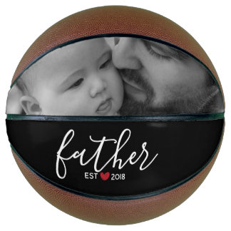 Black Script Father Est. Year Personalized Photo Basketball