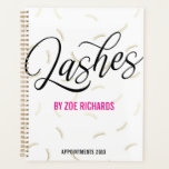 """Black Script & Faux Gold Lashes Appointment Planner<br><div class=""""desc"""">Chic spiral planner or appointment book for a lash artist in an eye catching design with a lash pattern in faux gold and white,  black swirly script,  and bold magenta as the accent color.</div>"""