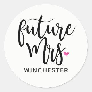 Black Script Future Mrs. (name) Classic Round Sticker