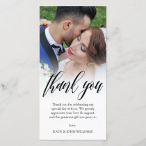 Black Script Overlay Wedding Photo Thank You