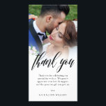 """Black Script Overlay Wedding Photo Thank You Card<br><div class=""""desc"""">Photo card personalized with your own wedding photo. Thank you written in a gorgeous black script above a personal message to your wedding guests. The edge between wedding photo and text is softened with a white gradient. Add your names too!</div>"""