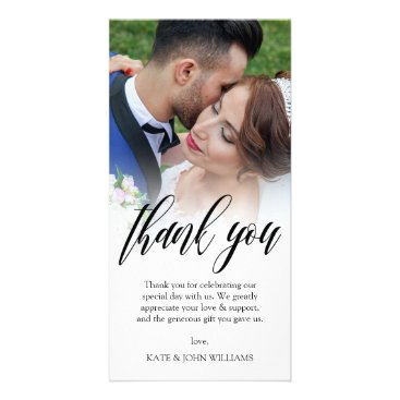 Paperpaperpaper Black Script Overlay Wedding Photo Thank You Card