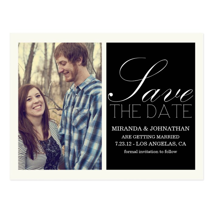 Black Script Photo Save The Date Post Cards