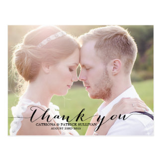 Black Script Photo Wedding Thank You Postcard
