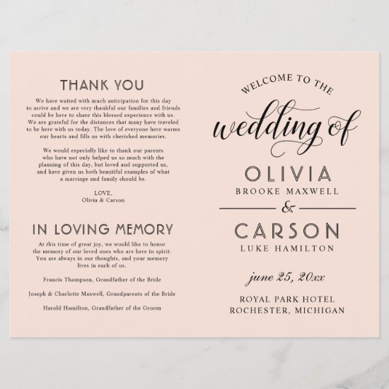 Black Script Wedding Ceremony Program | Blush Pink