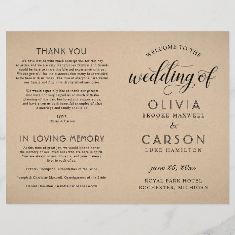 Black Script Wedding Ceremony Program | Kraft