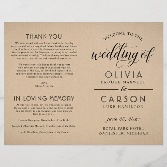 Wedding Ceremony Programs.Black Script Wedding Ceremony Program Kraft