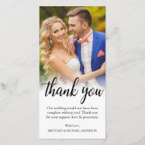 Black Script Wedding Photo Bride Groom Thank You
