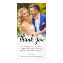 Black Script Wedding Photo Bride Groom Thank You Card